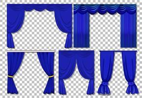 olika mönster av blå gardiner isolerade