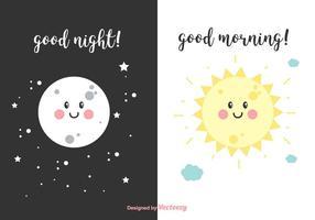 Natt och morgonvektor kort vektor