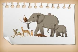Gruppe von wilden afrikanischen Tieren auf Papier