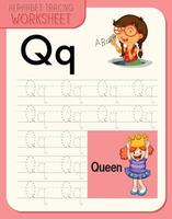 alfabetet spåra kalkylblad med bokstäver och ordförråd vektor