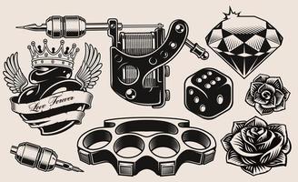 eine Reihe von Schwarz-Weiß-Tattoo-Thema vektor