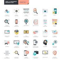 uppsättning platt design ikoner för SEO och internet marknadsföring vektor