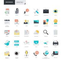 uppsättning platt design ikoner för företag vektor