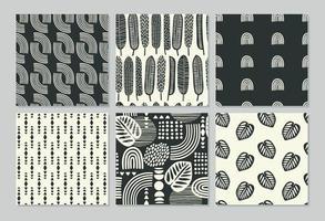 künstlerische nahtlose Muster mit abstrakten Blättern vektor