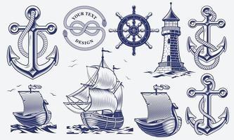 en uppsättning svartvita vintage nautiska