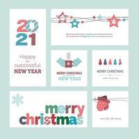 uppsättning jul och nyår 2021 gratulationskort