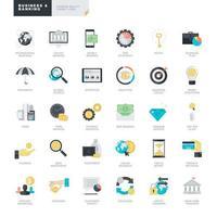 uppsättning platt design ikoner för företag och bank vektor