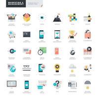 uppsättning platt design ikoner för marknadsföring och förvaltning vektor