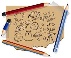 handritade rymdelement på papper med många pennor vektor