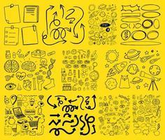 Satz gezeichneter Gekritzel der Objekt- und Symbolhand auf gelbem Hintergrund vektor