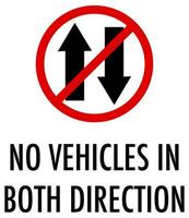 Keine Fahrzeuge in beide Richtungen auf weißem Hintergrund