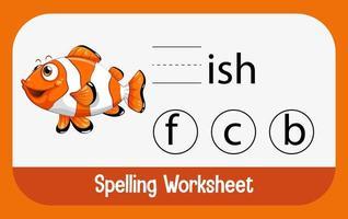 finde fehlenden Buchstaben mit Fisch vektor