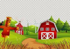 Scheune in Naturfarm auf transparentem Hintergrund vektor