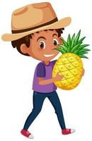 Kinderkarikaturfigur, die Obst oder Gemüse lokalisiert auf weißem Hintergrund hält