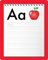 alfabetet spårning kalkylblad med bokstaven a och a vektor