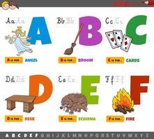 alfabetbokstäver för barn från a till f