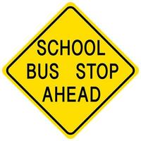 Schulbushaltestelle vor gelbem Schild auf weißem Hintergrund vektor