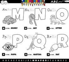 Alphabetbuchstaben von m bis r Malbuch vektor