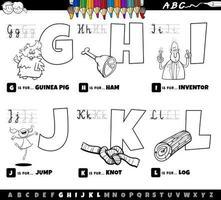 Alphabetbuchstaben von g bis l Malbuch vektor