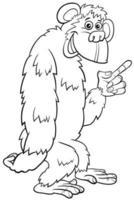 Gorilla Affe wilde Cartoon Tier Charakter Malbuch Seite