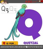 bokstaven q från alfabetet med quetzal fågel karaktär vektor