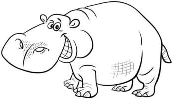 Cartoon Nilpferd Tier Charakter Malbuch Seite vektor
