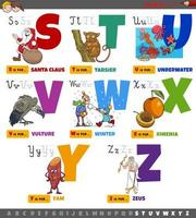 pedagogiska tecknade alfabetbokstäver från s till z