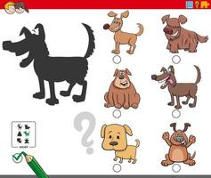 Schattenaufgabe mit niedlichen Hundecharakteren