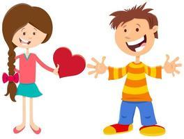 valentinkort med glad tjej och pojke vektor