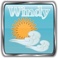 dag väder ikon med texten blåsig