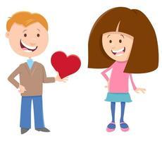 Alla hjärtans kort med komisk tjej och pojke vektor