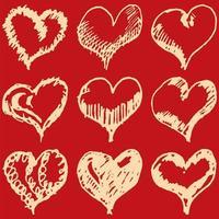 alla hjärtans hjärtan skissar på röd bakgrund vektor