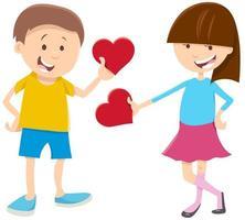 Alla hjärtans kort med tjej och pojke och hjärta vektor