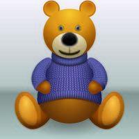 Teddybär im Pullover auf grauem Hintergrund