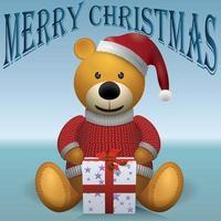 Teddybär mit Geschenk. Text frohe Weihnachten