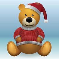 Teddybär in rotem Pullover und rotem Hut