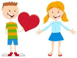 Alla hjärtans-kort med söt flicka och pojke vektor