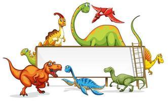 en dinosaurie banner mall på vit bakgrund