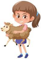 Mädchen, das niedlichen Tierkarikaturcharakter lokalisiert auf weißem Hintergrund hält vektor