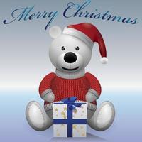 weißer Teddybär mit Geschenk. Text frohe Weihnachten