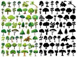 Satz von Pflanze und Baum mit seiner Silhouette vektor