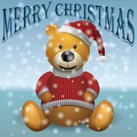 Teddybär im Schnee. Text frohe Weihnachten