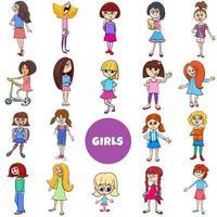 Cartoon Kid Girls Charaktere großer Satz vektor