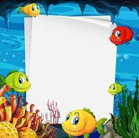 tomt pappersbanner med exotiska fiskar och undervattenselement på undervattensbakgrunden vektor