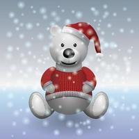 Teddybär mit Pullover im Schnee