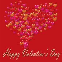 Alla hjärtans dag vykort ballonger på röd bakgrund vektor