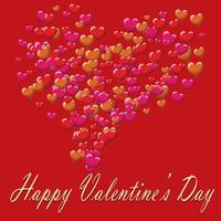 Valentinstag Postkartenballons auf rotem Hintergrund