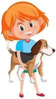 flicka som håller söt djur seriefigur isolerad på vit bakgrund