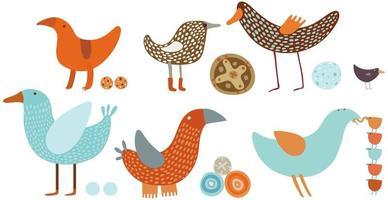 orange och blå fåglar