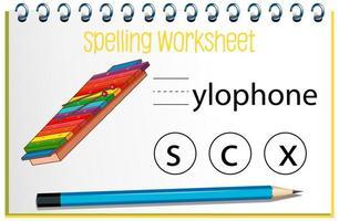 finde fehlenden Buchstaben mit Xylophon vektor